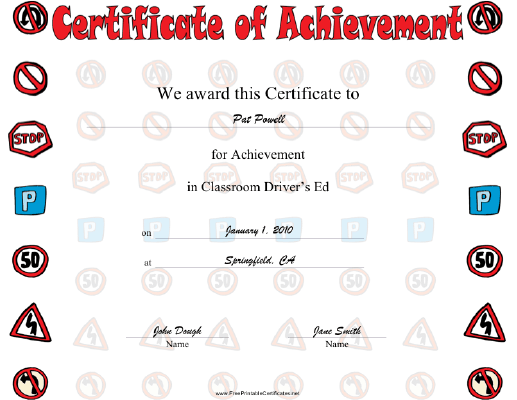 Driver Education certificate
