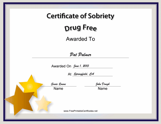 Drug-Free certificate