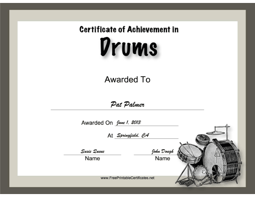 Drums Instrumental Music certificate