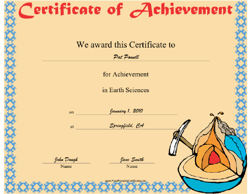Earth Science certificate