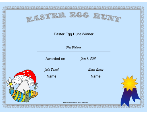 Easter Egg Hunt Winner certificate