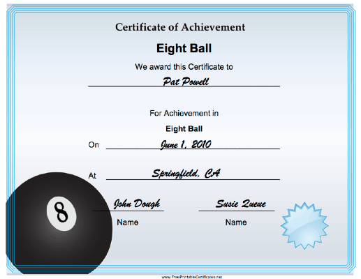 Eight Ball Achievement certificate