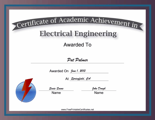 Electrical Engineering Academic certificate