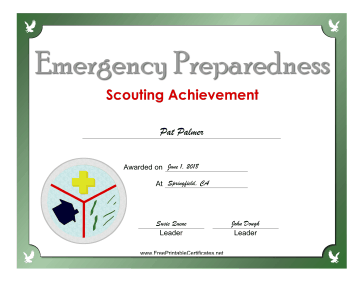 Emergency Preparedness Badge certificate