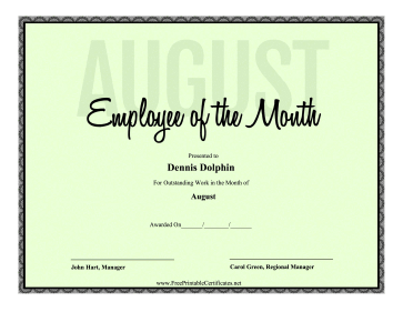 Employee Of The Month August certificate