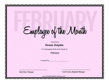 Employee Of The Month February certificate