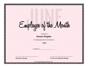 Employee Of The Month June certificate