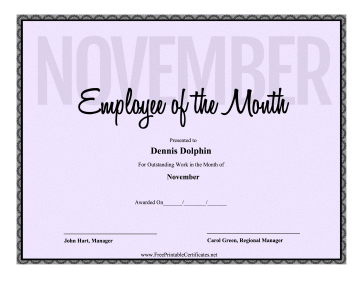 Employee Of The Month November certificate