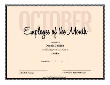 Employee Of The Month October certificate