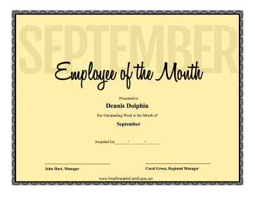 Employee Of The Month September certificate