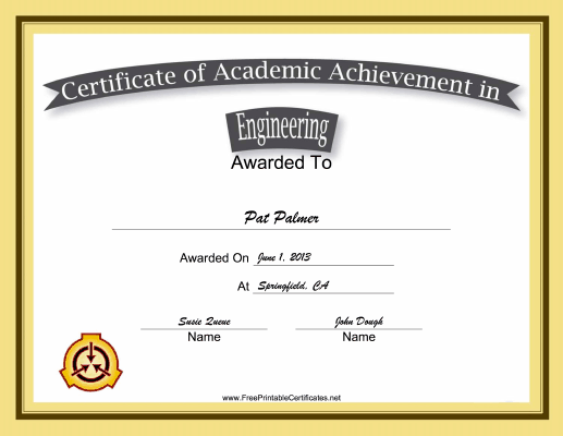 Engineering Academic certificate