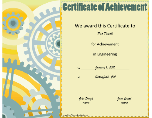 Engineering certificate