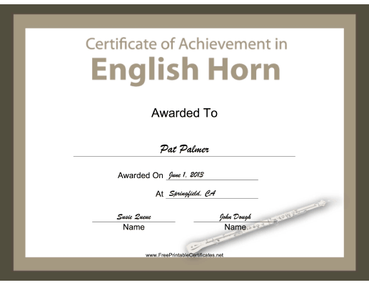 English Horn Instrumental Music certificate