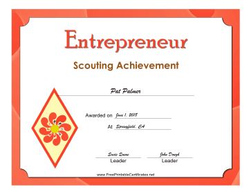 Entrepreneur Badge certificate
