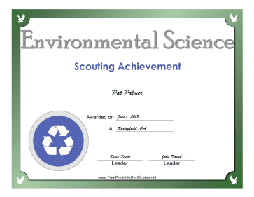 Environmental Science Badge certificate