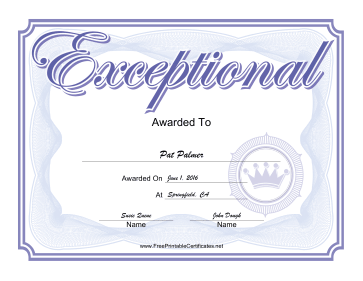Exceptional certificate