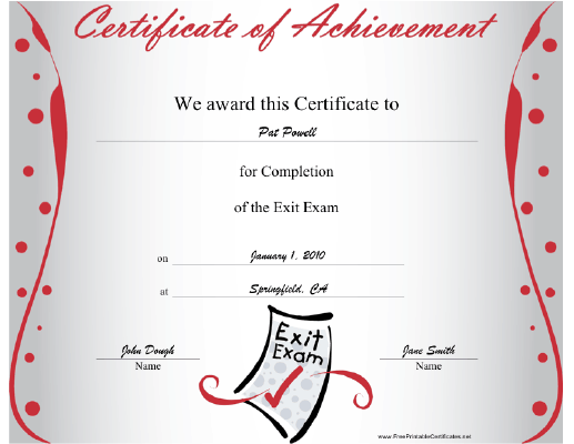 Exit Exam Completion certificate