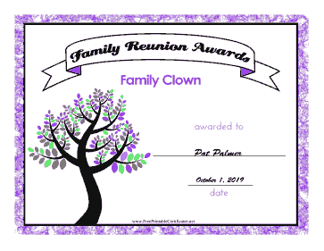 Family Reunion Family Clown certificate