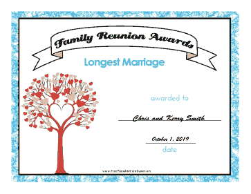 Family Reunion Longest Marriage certificate