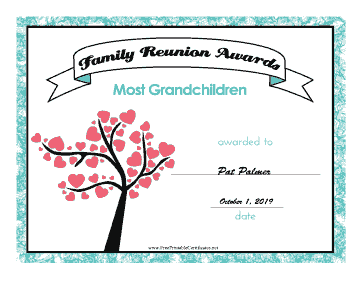 Family Reunion Most Grandchildren certificate