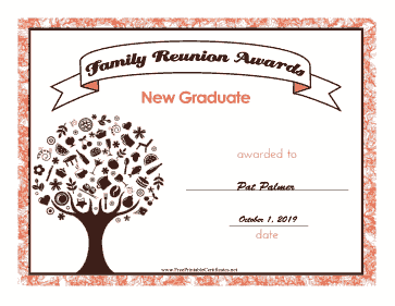 Family Reunion New Graduate certificate
