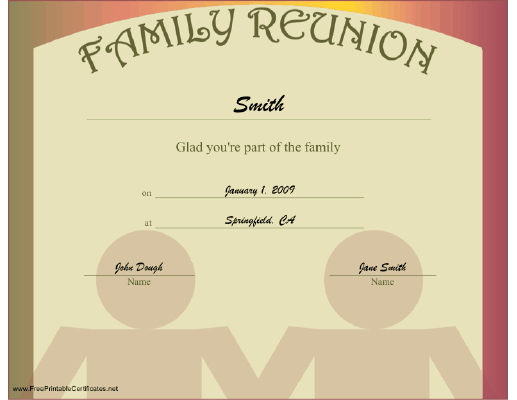 Family Reunion certificate