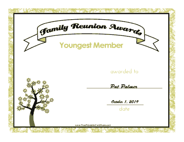 Family Reunion Youngest Member certificate