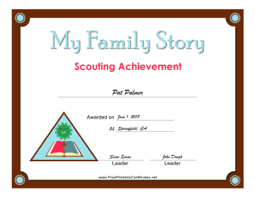 Family Story Badge certificate