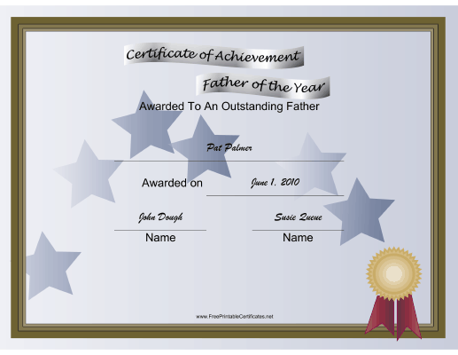 Father of the Year certificate