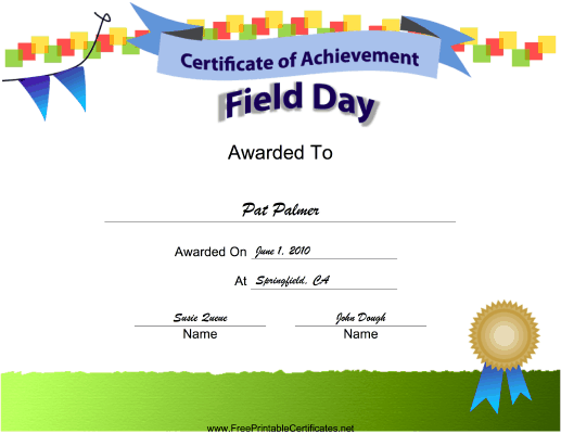 Field Day Achievement certificate