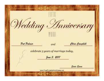 Fifth Wedding Anniversary certificate