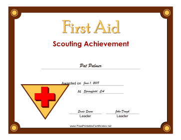 First Aid Level 1 Badge certificate