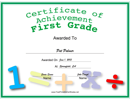 First Grade Achievement certificate