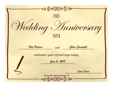 First Wedding Anniversary certificate