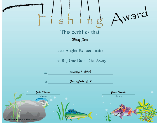 Fishing Award certificate