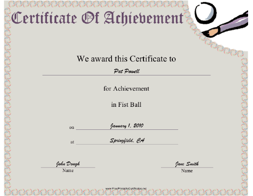 Fist Ball certificate