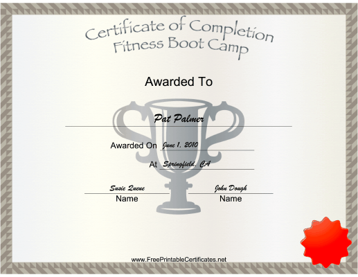 Fitness Boot Camp certificate