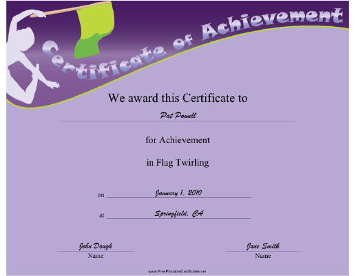Flag Twirling certificate