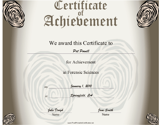 Forensic Sciences certificate