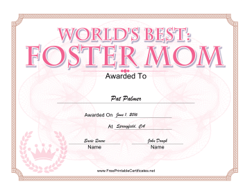 Foster Mom Award certificate