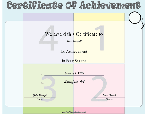 Four Square certificate