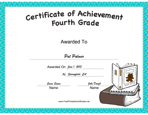 Fourth Grade Achievement certificate