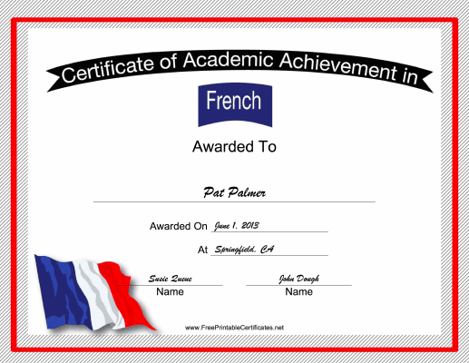 France French Language certificate