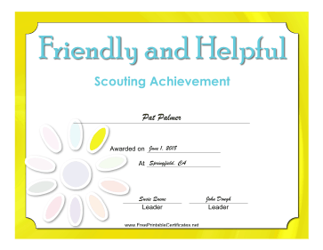 Friendly And Helpful Badge certificate
