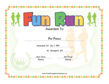 Fun Run certificate