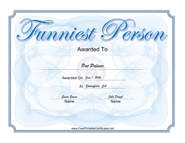 Funniest Person Yearbook Award certificate