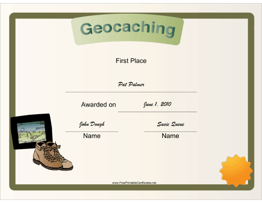 Geocaching First Place certificate