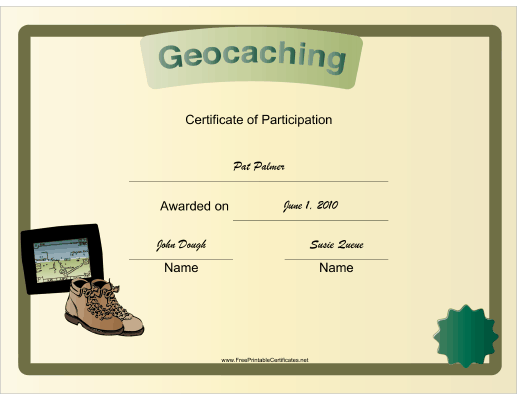 Geocaching Participation certificate