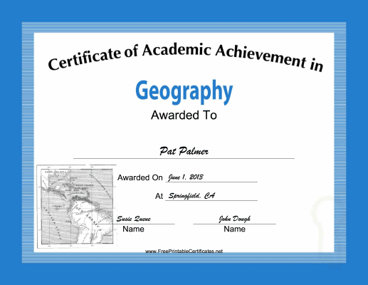 Geography Academic certificate
