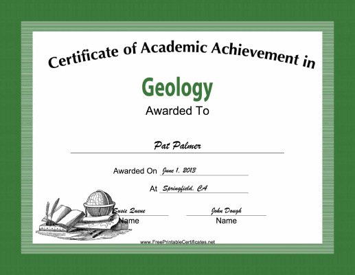 Geology Academic certificate